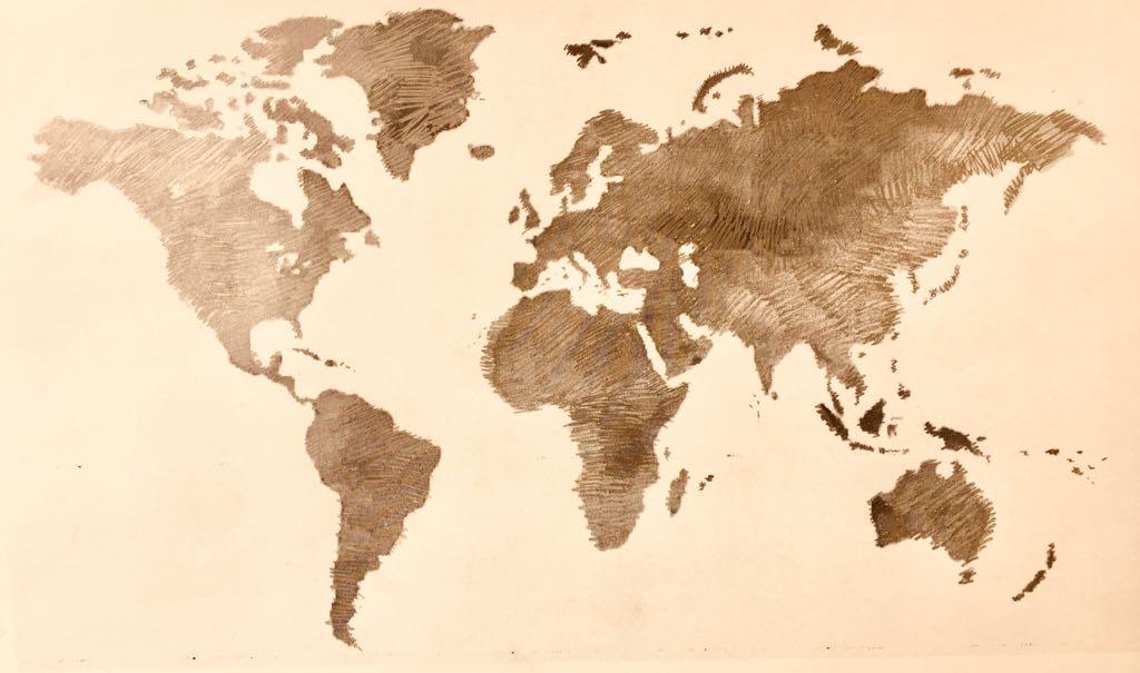 Mapa del Mundo de viajes y mercadillos