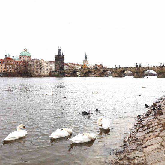 Puente de Carlo en Praga, al fondo